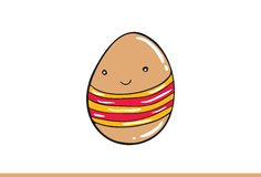 Vector egg emoticon dressed cutely with facial expression. Royalty Free Stock Photo