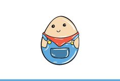 Vector egg emoticon dressed cutely with facial expression. Stock Image