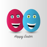 Vector egg with face. Happy Easter Stock Photo