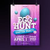 Vector Egg Hunt Easter Party Flyer Illustration with painted eggs, flowers and typography elements on vintage wood. Texture background. Spring holiday vector illustration