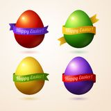 Vector eggs with colorful ribbons and place for. Vector illustration. Easter template design for greeting and invitation cards. Abstract 3D shape Stock Photo