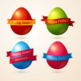 Vector eggs with colorful ribbons and place for Royalty Free Stock Photo