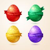 Vector eggs made of pattern with ribbons. Easter egg in doodle style with place for your text. Easter template design for greeting and invitation cards Royalty Free Stock Photo