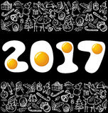 Vector eggsnumbers 2017. Vector eggs numbers 2017, and Christmas, and New Year objects Stock Photo