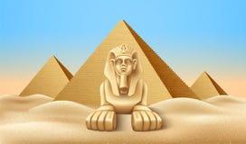Vector Egypt pyramid and sphinx landmark realistic. Realistic Egypt pyramids with sphinx. Famous African landmark, historical place in Giza. Egyptian pharaoh royalty free illustration