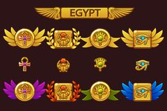 Vector Egyptian awards with Scarab, Eye, flower and Cross. Receiving the cartoon game achievement with colored precious. Gems on separate layers vector illustration