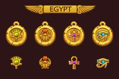 Vector Egyptian talismans with Scarab, Eye, flower and Cross. Olden Egypt golden amulet with colored precious gems. On separate layers vector illustration