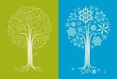 Vector Eichenbaum in den verschiedenen Jahreszeiten Lizenzfreies Stockfoto