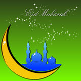 Vector eid celebration illustration. Twinkle star background with mosque on moon Vector Illustration