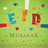 Vector Eid Mubarak gift card or package cover for muslim holidays.  Royalty Free Stock Photo