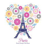 Vector Eifel Tower Paris Bursting With St Valentines Day Pink Red Golden Hearts Of Love. Royalty Free Stock Photos