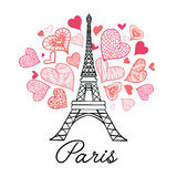 Vector Eifel Tower Paris Bursting With St Valentines Day Pink Red Hearts Of Love. Perfect for travel themed postcards Royalty Free Stock Images