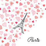 Vector Eifel Tower Paris Greeting Card Bursting With St Valentines Day Pink Red Hearts Of Love. Perfect for travel Stock Photography