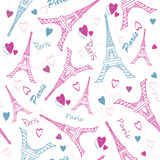 Vector Eifel Tower Paris Love Pink Grey Drawing Seamless Pattern with romantic hearts. Perfect for travel themed designs Stock Photos