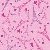 Vector Eifel Tower Paris Love Pink Purple Drawing Seamless Pattern with romantic hearts. Perfect for travel themed Stock Photography