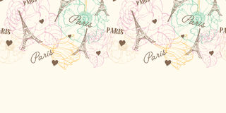 Vector Eifel Tower Paris Seamless Pattern Horizontal Border In Vintage Style With Beautiful, Romantic Pastel Flowers Stock Images