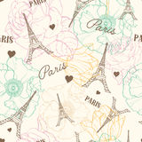Vector Eifel Tower Paris Seamless Pattern In Vintage Style With Beautiful, Romantic Pastel Flowers. Perfect for travel Royalty Free Stock Photography
