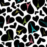 Vector Eifel Tower Paris Seamless Repeat Pattern Bursting With St Valentines Day Black Hearts Of Love. Perfect for Royalty Free Stock Image