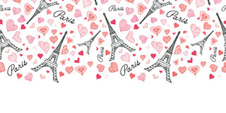 Vector Eifel Tower Paris Seamless Repeat Pattern Horizontal Border Bursting With St Valentines Day Pink Red Hearts Of Stock Image