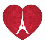 Vector Eifel Tower Paris On St Valentines Day Ruby Red Heart. Symbol of Love. Perfect for travel themed postcards Stock Image