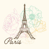 Vector Eifel Tower Paris In Vintage Style With Beautiful, Romantic Pastel Flowers. Perfect for travel themed postcards Stock Photography