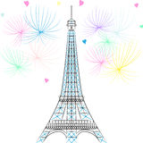 Vector Eiffel tower in Paris Stock Image