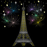 Vector Eiffel tower in Paris Royalty Free Stock Photography