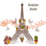 Vector Eiffel tower and potters fully of flowers. Boutique banne Royalty Free Stock Photography