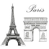Vector Eiffel Tower and Triumphal Arch. Eiffel tower and Triumphal Arch Landmarks of Paris, France vector  hand drawing illustration in black color on white Stock Photography