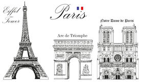 Vector Eiffel Tower, Triumphal Arch and Notre Dame Cathedral. Vector hand drawing image Royalty Free Stock Photo