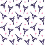 Vector Eiffel Towers romantic seamless pattern Stock Photo
