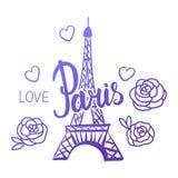 Vector Eiffelturmhandzeichnung mit einer Aufschrift Paris Stock Abbildung