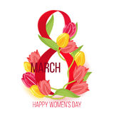 Vector eight march happy womens day card design with tulip flowers Stock Photo