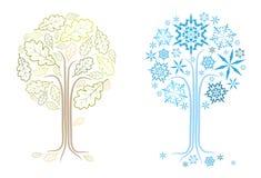 Vector eiken boom in verschillende seizoenen stock illustratie