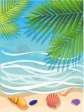 Vector eine Fahne mit einem Landschaftsstrand Draufsicht des Inselparadieses Der tropische Strand auf der Küste für RestPalmeweid Lizenzfreie Stockfotografie