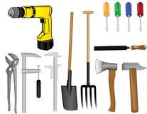 Vector eine Werkzeugausstattung ein Bohrgerät Lizenzfreies Stockfoto