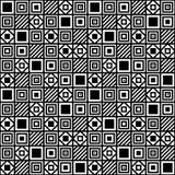 Vector einfaches geometrisches nahtloses Muster mit Quadraten und Linien Stockfotos
