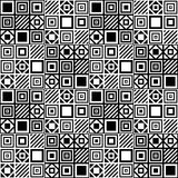 Vector einfaches geometrisches nahtloses Muster mit Quadraten und Linien in Schwarzweiss Lizenzfreie Stockfotos