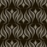 Vector einfarbige Verzierung des nahtlosen Musters mit stilisiertem geomet Lizenzfreie Stockbilder