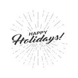 Vector einfarbigen Text frohe Feiertage für Grußkarte, Flieger, Plakatlogo mit Beschriftung, helle Strahlen Lizenzfreie Stockfotos