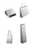 Vector Einkaufenbeutel, graues Weißbuchpaket Stockfotografie