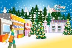 Vector Einkaufsfrau mit Taschen auf Weihnachtshintergrund - kreative Illustration eps10 Lizenzfreie Stockfotografie