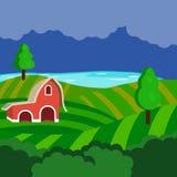 Vector - ejemplo del vector de un paisaje verde hermoso de la granja Foto de archivo libre de regalías