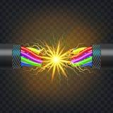 Vector eléctrico del cable de la rotura Circuito eléctrico Poder industrial de la red Relámpago que brilla intensamente realista  libre illustration