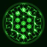 Vector el árbol de la vida, símbolo sagrado de la geometría, verde stock de ilustración