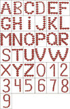 Vector el alfabeto inglés y los números completos de símbolo del corazón Imagenes de archivo