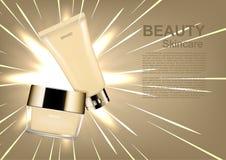Vector el anuncio cosmético del skincare, crema hidratante fijada con las líneas abstractas ilustración del vector