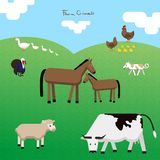 Vector el asiento de los animales del campo en un pasto ilustración del vector