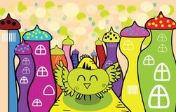 Vector el búho feliz de la historieta en la ciudad de hadas Imagen de archivo