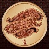Vector el barril de madera de la cerveza en un fondo de la pared de ladrillo stock de ilustración